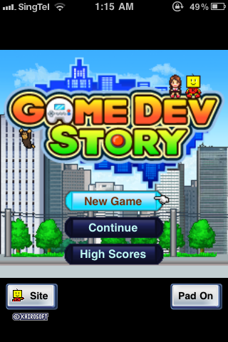 Game Dev Story title screen